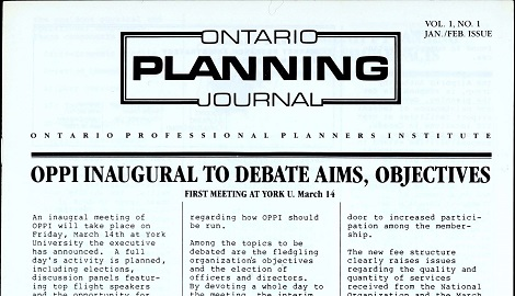 Cover of the first issue of the Ontario Planning Journal