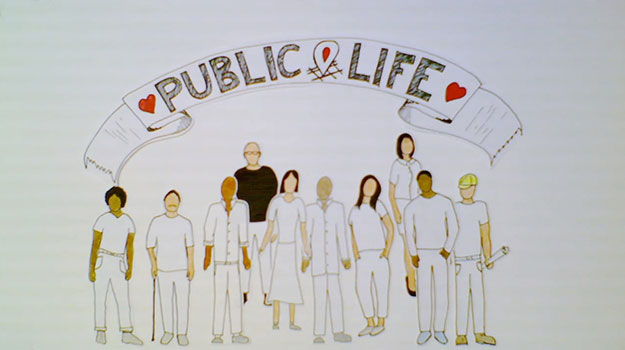 Public and Life banner above a group of cutout people